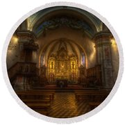 Baroque Church In Savoire France Round Beach Towel