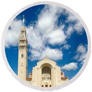 Basilica Of The National Shrine Of The Immaculate Conception Round Beach Towel