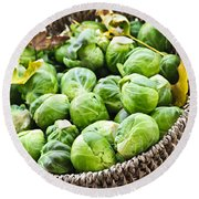 Basket Of Brussels Sprouts Round Beach Towel by Elena Elisseeva