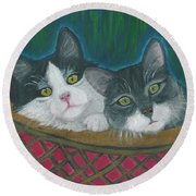 Round Beach Towel featuring the painting Basket Of Kitties by Ania M Milo