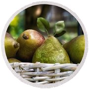 Basket Of Pears Round Beach Towel