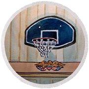 Basketball Hoop Sketchbook Project Down My Street Round Beach Towel by Irina Sztukowski