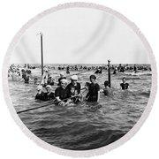 Bathing In The Gulf Of Mexico - Galveston Texas  C 1914 Round Beach Towel