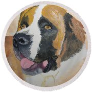 Round Beach Towel featuring the painting Baxter by Norm Starks