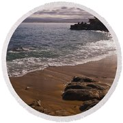 Beach At Monteray Bay Round Beach Towel by Darcy Michaelchuk