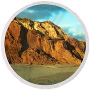 Round Beach Towel featuring the photograph Beach Cliff At Sunset by Mark Dodd