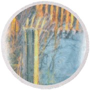 Round Beach Towel featuring the photograph Beach Fence by Lynne Jenkins