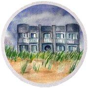 Round Beach Towel featuring the painting Beach House by Clara Sue Beym