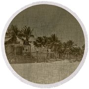Beach Huts In A Tropical Paradise Round Beach Towel