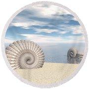 Round Beach Towel featuring the digital art Beach Of Shells by Phil Perkins