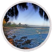 Beach On North Shore Of Oahu Round Beach Towel