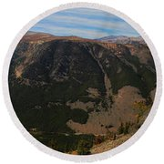 Bear Tooth Highway Panorama Round Beach Towel by Brad Scott