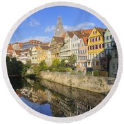 Beautiful German Town Tuebingen - Neckar Waterfront Round Beach Towel