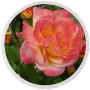 Round Beach Towel featuring the photograph Beautiful Rose With Buds by Lingfai Leung