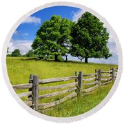 Beautiful Virginia Pasture Round Beach Towel