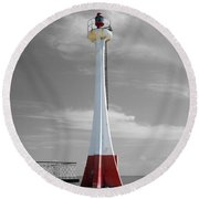 Round Beach Towel featuring the photograph Belize City Lighthouse Color Splash Black And White by Shawn O'Brien