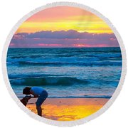 Round Beach Towel featuring the photograph Bella At Sunrise by Alice Gipson