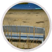 Bench On The Beach Round Beach Towel