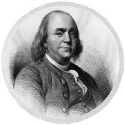 Round Beach Towel featuring the photograph Benjamin Franklin by International  Images