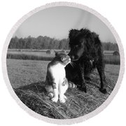 Best Buddies Black And White Round Beach Towel by Kent Lorentzen