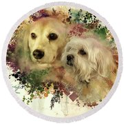 Round Beach Towel featuring the digital art Best Friends by Kathy Tarochione