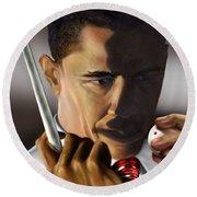 Obama Beyond Shark Waters Round Beach Towel