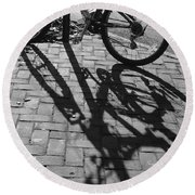 Bicycle Shadows In Black And White Round Beach Towel