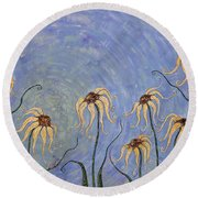 Big Blue Sky Round Beach Towel by Tanielle Childers