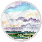 Round Beach Towel featuring the painting Big Clouds by Clara Sue Beym