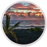Big Island Sunrise Round Beach Towel