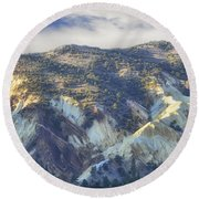 Big Rock Candy Mountains Round Beach Towel
