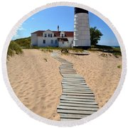 Big Sable Lighthouse At Ludington State Park Round Beach Towel by Michelle Calkins