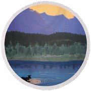 Round Beach Towel featuring the painting Big Sky Country by Norm Starks