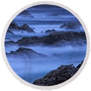Round Beach Towel featuring the photograph Big Sur Mist by William Lee