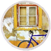 Bike Window Round Beach Towel by Carlos Caetano
