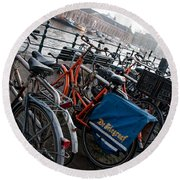 Bikes In Amsterdam Round Beach Towel by Carol Ailles
