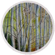 Round Beach Towel featuring the painting Birch Forest by Julie Brugh Riffey