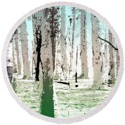 Round Beach Towel featuring the digital art Birch Forest by Phil Perkins