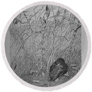 Bird In Winter Round Beach Towel by Daniel Reed