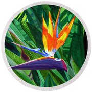 Bird-of-paradise Round Beach Towel