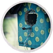 Birdhouse Memories Round Beach Towel