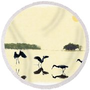 Round Beach Towel featuring the photograph birds feeding in the Everglades by Dan Friend