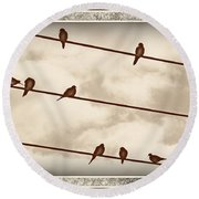 Birds On Wires Round Beach Towel