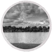 Round Beach Towel featuring the photograph Black And White Autumn Day by Michael Frank Jr
