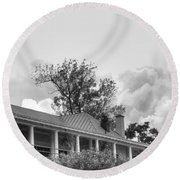 Round Beach Towel featuring the photograph Black And White Delaware Casino by Michael Frank Jr