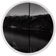 Black And White Emerald Bay Panorama Round Beach Towel by Brad Scott