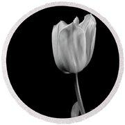 Black And White Tulip Round Beach Towel