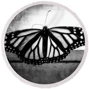 Black Butterfly Round Beach Towel by Julia Wilcox