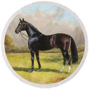 Black English Horse Round Beach Towel