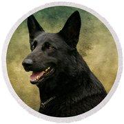 Black German Shepherd Dog IIi Round Beach Towel